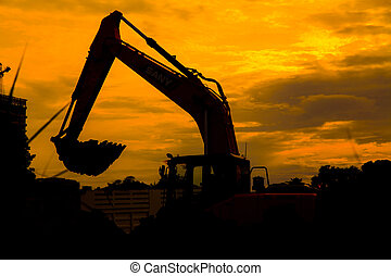 Silhouetted Excavator