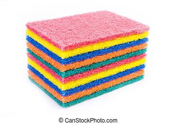 Sponge scrub on isolated white background
