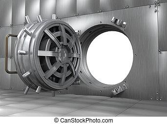 Open Bank Vault Door. 3D render
