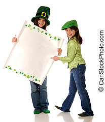 St. Patrick\'s Day Sign - Two girls dressed for St....