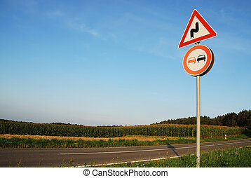 Traffic sign - Landscape with a traffic sign: Dont overtake...