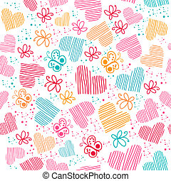 Seamless pattern with hearts, and butterflies.Copy square to...