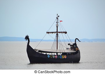 Viking ship on the Polish Baltic coast