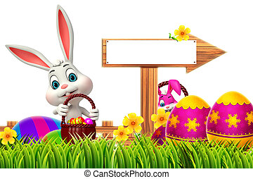 Easter Bunny with wooden arrow - 3d rendered illustration of...