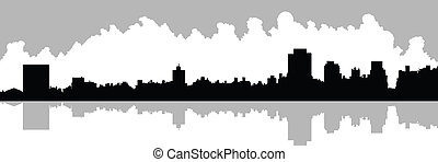 Upper East Side - Skyline silhouette of Upper East Side in...