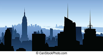 Manhattan Skyscrapers - Skyline silhouette of New York City,...