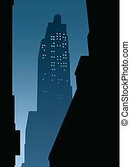 New York City Night - Skyline silhouette of New York City,...