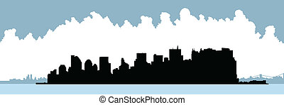 Lower Manhattan Skyline - Skyline silhouette of Lower...