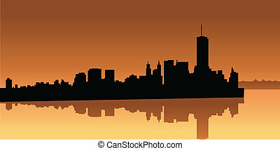 Lower Manhattan - Skyline silhouette of Lower Manhattan in...