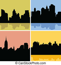 New York City Skyline - Skyline silhouette set of New York...