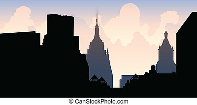 New York City Skyline - Skyline silhouette of New York City,...