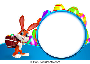 Easter Bunny with colorful eggs - 3d rendered illustration...