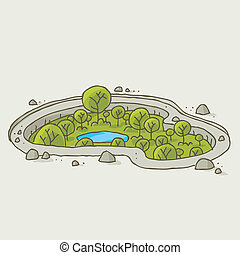 Sunken Oasis - A sunken cartoon oasis of green trees and...