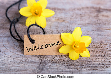 Welcome Tag - Welcome Label with Narcissus in the...