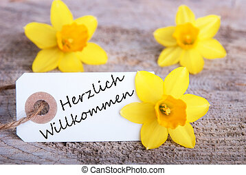 Label with Herzlich Willkommen - Label with the German Words...