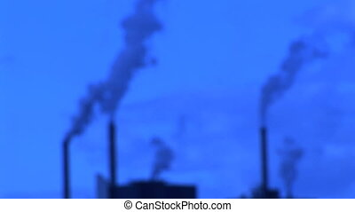Smoke Stacks - Blue smoke stacks from a factory, Camas,...