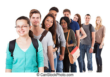Multiethnic University Students Standing In A Row - Portrait...