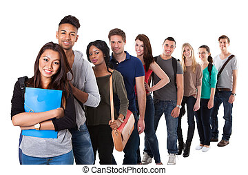 Portrait Of College Students Standing In A Line - Portrait...