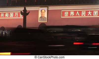 Mao and Forbidden City at Night - Portrait of Chairman Mao...