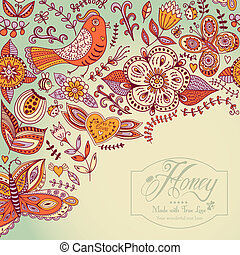 Floral background, summer theme, greeting card. Template...