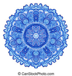 Watercolor vector gzhel Doily round lace pattern, circle...