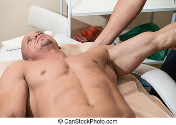 Close-Up Of An Man Having A Shoulder Massage - Close Up Of A...