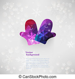 Vector mittens characters. Christmas, New Year card with...