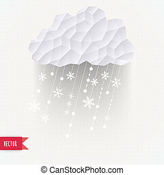Vector cloud with snowfall, winter background made of...