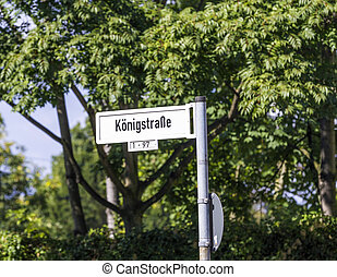 street sign Kouml;nigstrasse - street sign Königstrasse in...