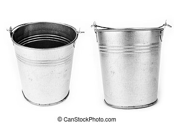 bucket - Metallic bucket isolated on a white background