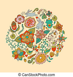 Vector illustration of circle made of flowers and birds. Round shape made of butterflies, leaves and different flowers. Vintage background. Bright summer outlines made from flowers