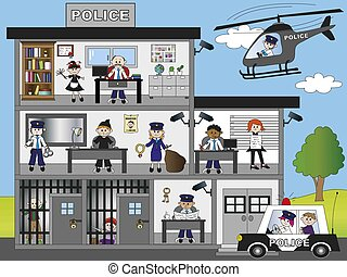 police station - illustration of funny police station