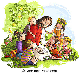 Jesus reading Bible with Children - Vector illustration for...