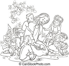 Black and white Jesus With Children - Black and white vector...