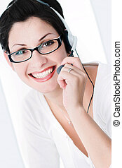 Friendly Operator - Beautiful young woman with charming big...
