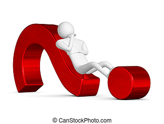 3d man thinking lying on question mark - 3d man thinking,...