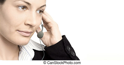 Operator with headset - Young female operator wears a...