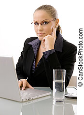 Young businesswoman working - Young businesswomen working at...