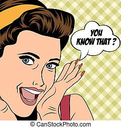 popart retro woman in comics style - popart woman in comics...