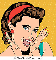 popart retro woman in comics style - popart woman in comics...