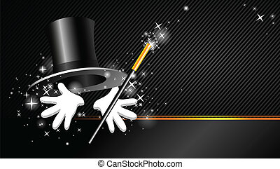 background with top hat, magic wand - magical presentation...