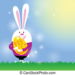 card with bunny and Easter egg - Easter background with...