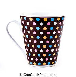 Polka dot mug on isolated white background