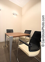Interior of a new office - Empty small boardroom with new...