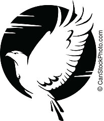 black and white eagle - black and white vector illustration...
