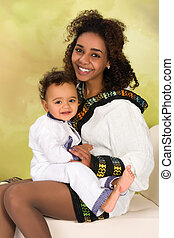 Ethiopian mother with baby - Ethiopian mother in national...