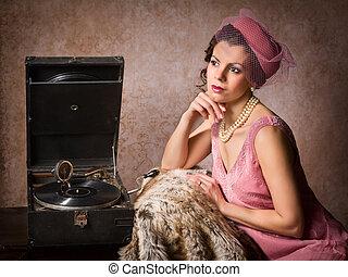vendange, femme, enregistrement, joueur