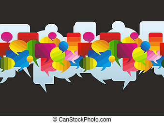 speech bubbles - a colorful banner made of different speech...
