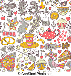 Tea,sweets seamless doodle pattern. Copy that square to the side and you'll get seamlessly tiling pattern which gives the resulting image the ability to be repeated or tiled without visible seams.