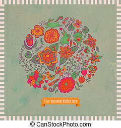 Vector illustration of circle made of flowers and birds. Round shape made of butterflies, leaves and different flowers. Vintage background. Bright summer outlines made from flowers with grunge paper.